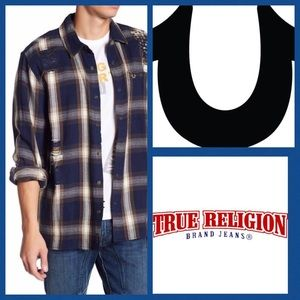 True Religion Distressed Plaid Shirt